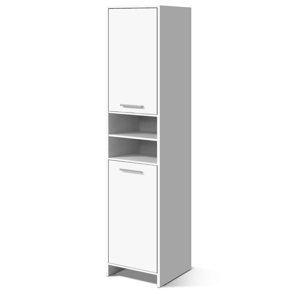Artiss 185cm Bathroom Tallboy Laundry Cupboard Adjustable Shelf White
