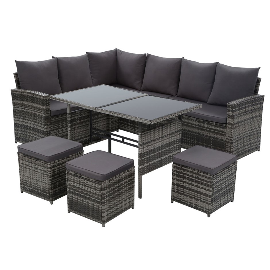 Gardeon Outdoor Furniture Sofa Set Dining Wicker 9 Seater Mixed Grey