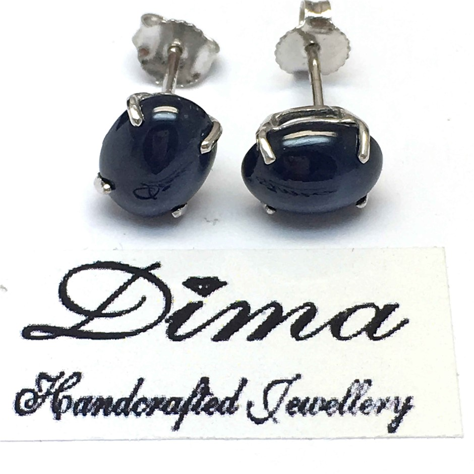 18ct White Gold, 7.10ct Blue Sapphire Earring