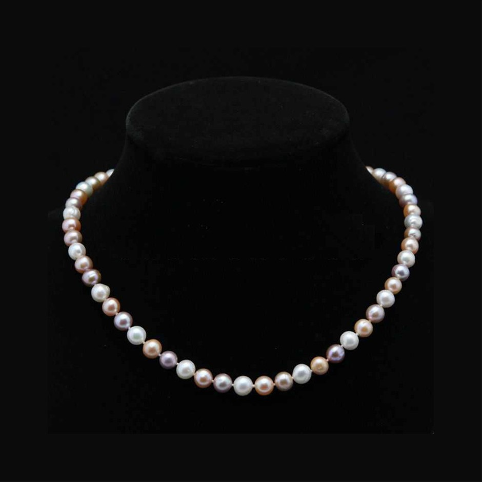 """Genuine Natural 7-8mm White, Pink, Purple Akoya Cultured Pearl Necklace 20"""""""