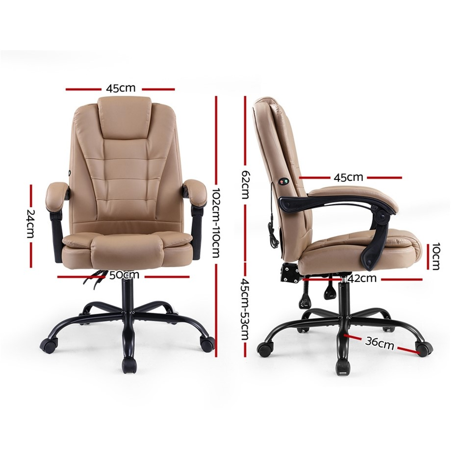 Artiss Massage Office Chair PU Leather Recliner Computer Gaming Espresso