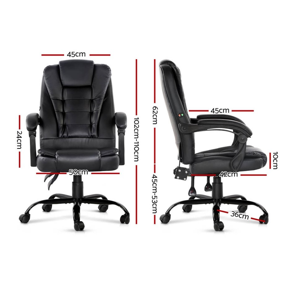 Artiss Electric Massage Office Chairs PU Leather Recliner Computer Gaming