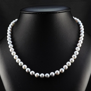 Natural grey Akoya Pearl Uniform Necklac