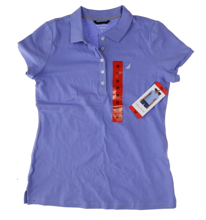 Women`s NAUTICA Stretch Polo Shirt, Size M, Short Sleeve, Cotton/Elastane,