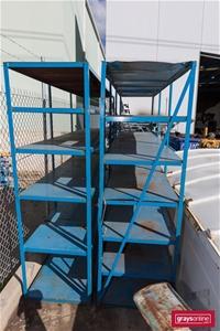 Qty 2 x Steel Shelving Units, Unbranded,