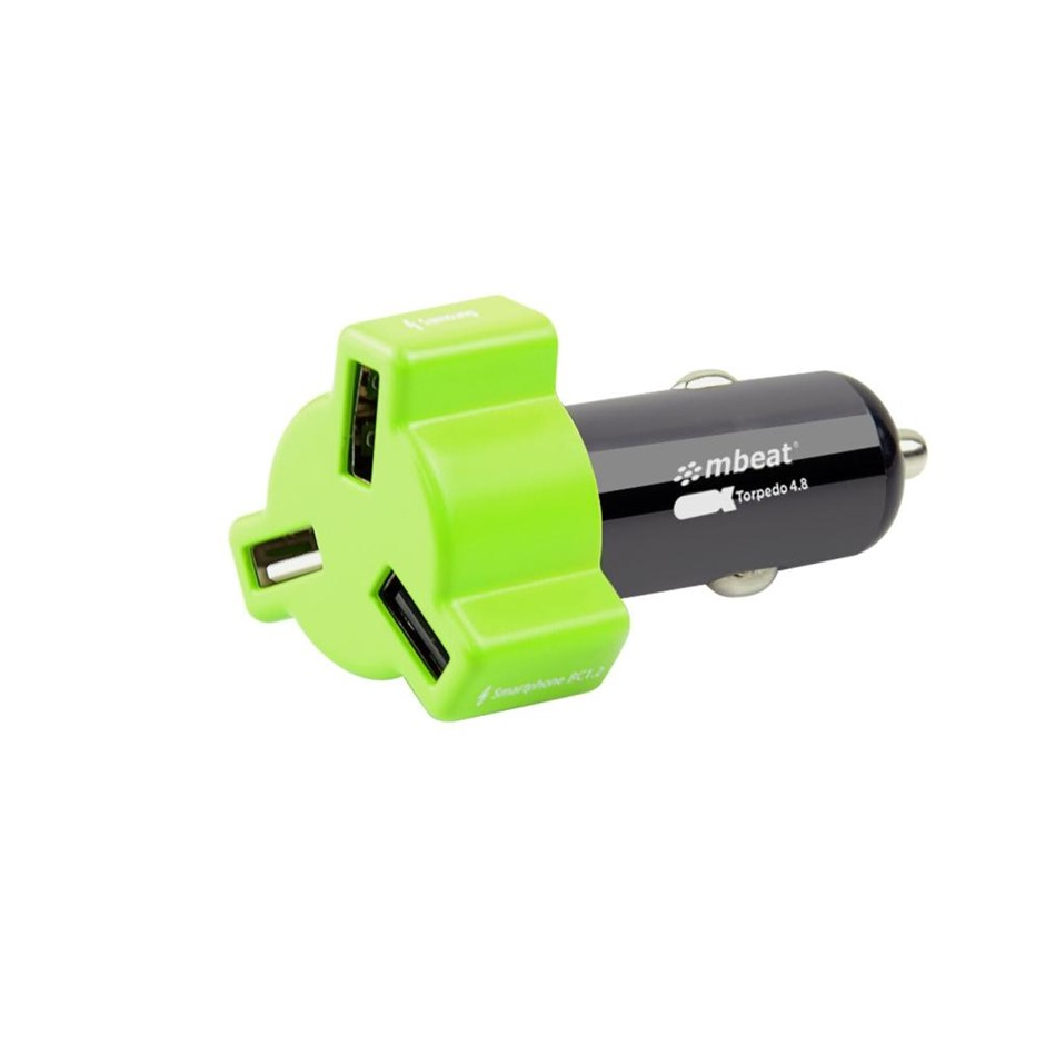mbeat CHGR-348-GRE Green color 3-port 4.8A 24W rapid car charger