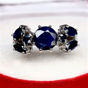 Natural Midnight Blue Sapphire Ring.