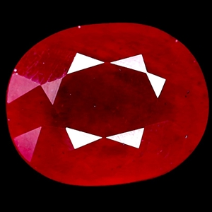 4.18ct. Genuine Oval Facet Blood Red Rub