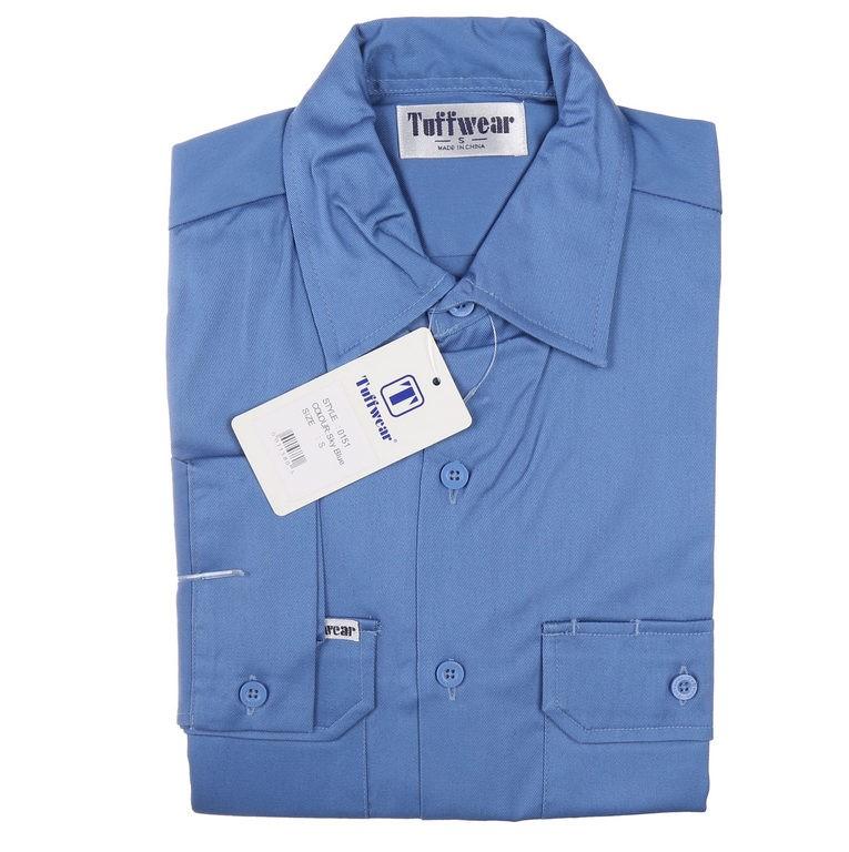 3 x TUFFWEAR Cotton Drill Shirts, Size 2XL, Long Sleeve, Sky Blue. Buyers N