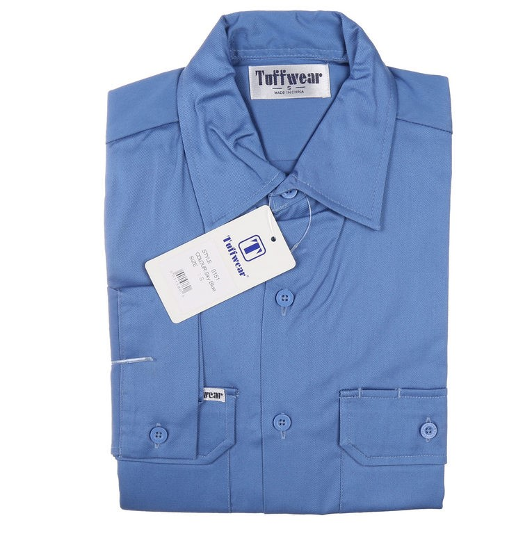 3 x TUFFWEAR Cotton Drill Shirts, Size L, Long Sleeve, Sky Blue. Buyers Not