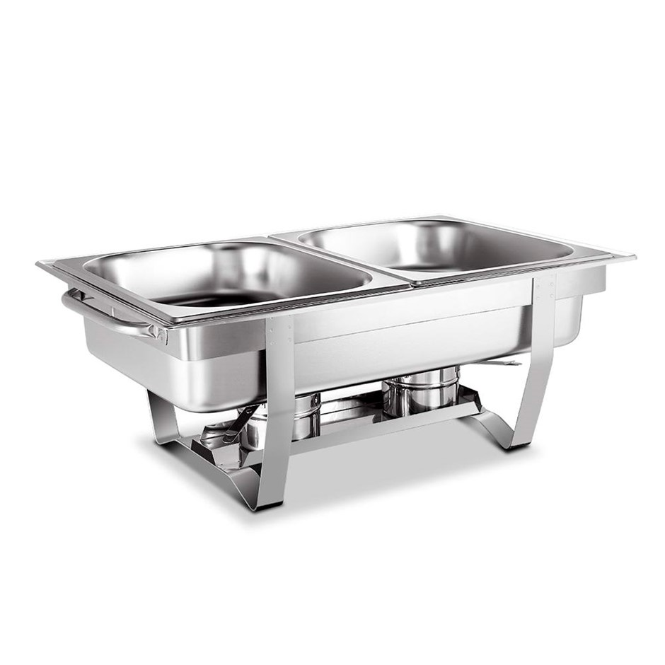 Emajin 9L Bain Marie Chafing Dish 4.5Lx2 Stainless Steel Food Stackable