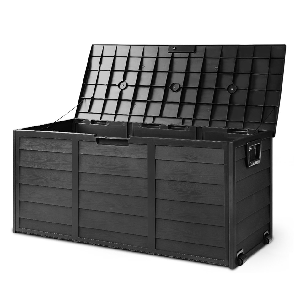 Giantz 290L Outdoor Storage Box Lockable Weatherproof Garden ALL BLACK