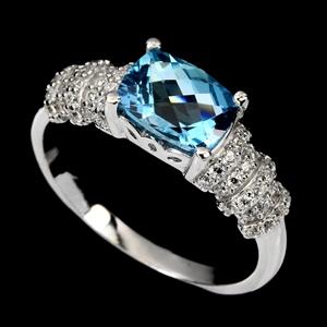 Stunning Genuine Swiss Blue Topaz Ring.
