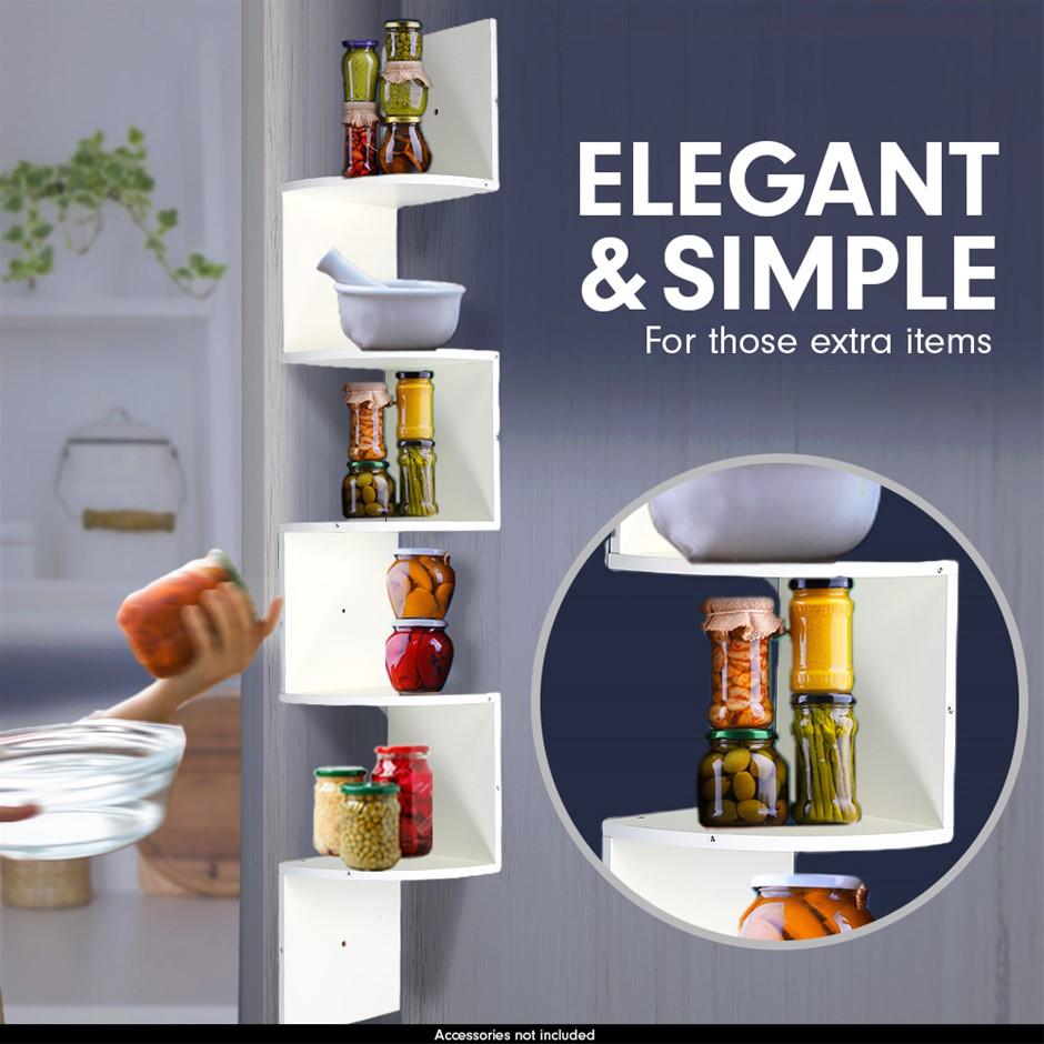 5-Tier Corner Wall Shelf Display Storage Shelves - White