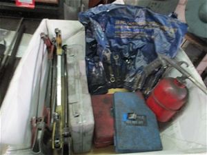 Box Containing Assorted Tools