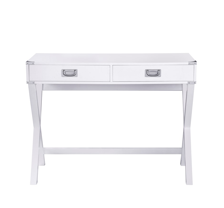 Alexa Cross Leg 2 Drawer Stylish Desk - White