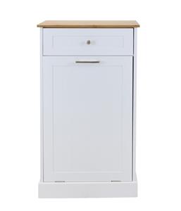 Hampton Microwave Kitchen Cart With Garbage Bin Storage White