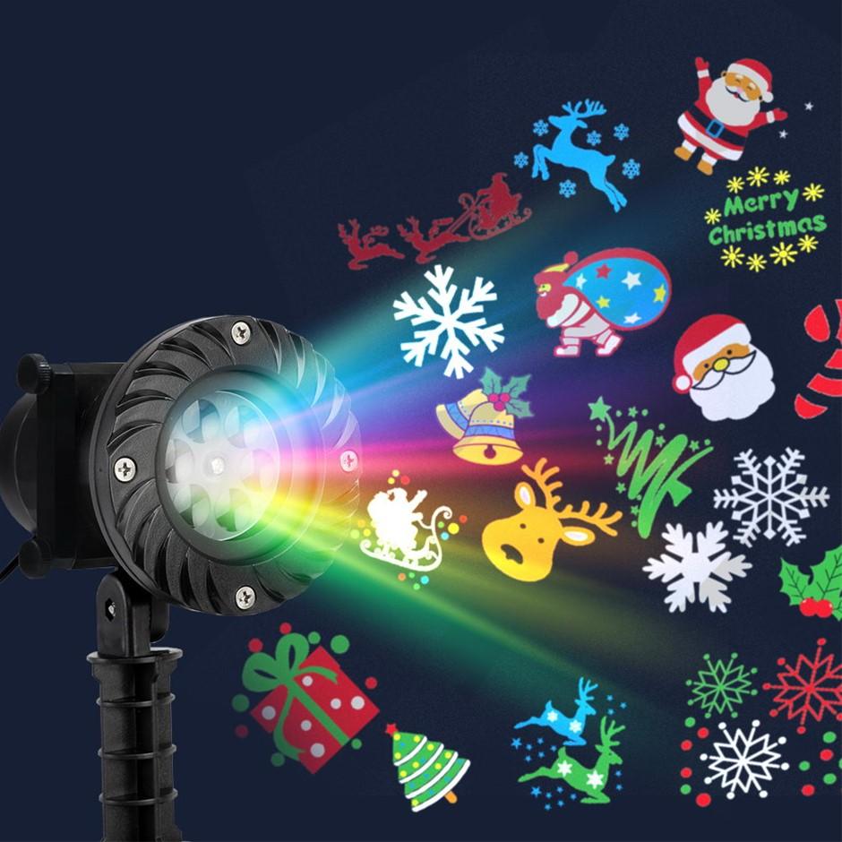 Jingle Jollys Pattern LED Laser Landscape Projector Light Christmas Party