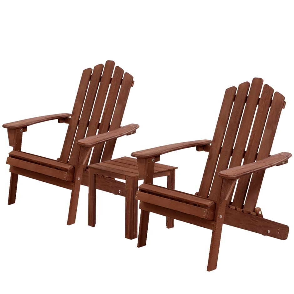 Gardeon 3PC Outdoor Setting Chairs Table Wooden Adirondack Lounge Brown