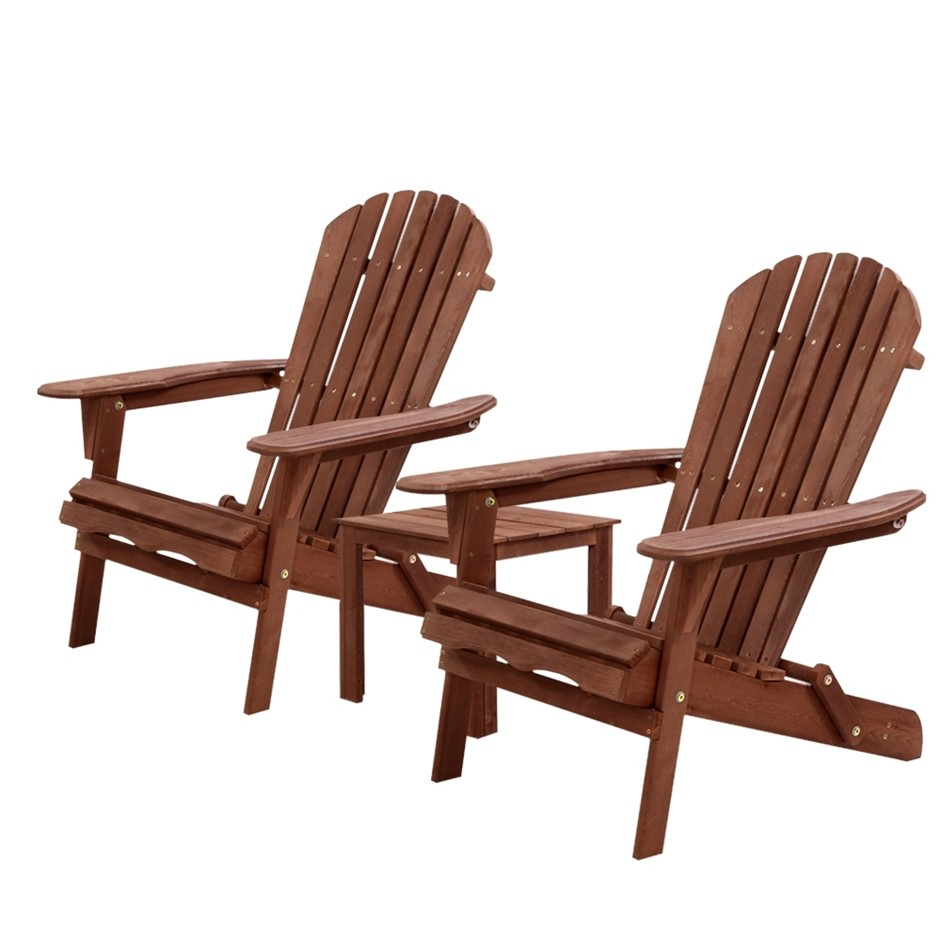 Gardeon 3pc Outdoor Setting Chairs Table Wooden Adirondack Lounge Garden