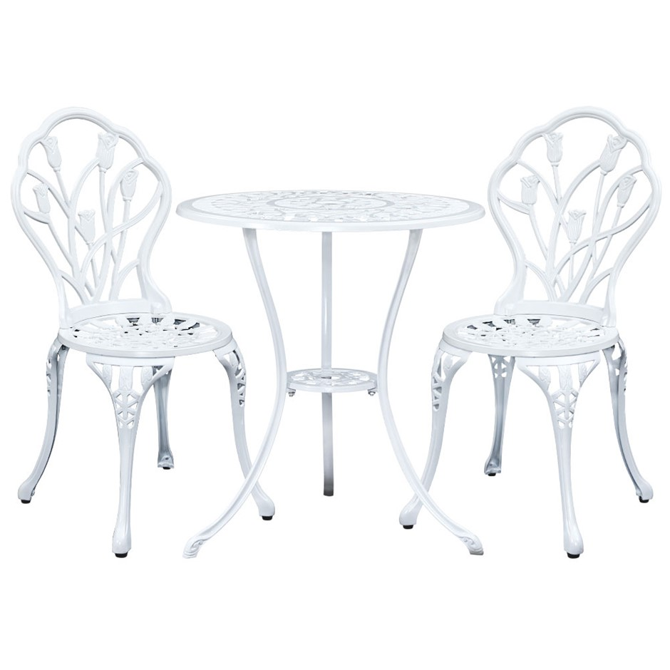 Gardeon 3PC Outdoor Setting Cast Aluminium Bistro Table Chair White 1018