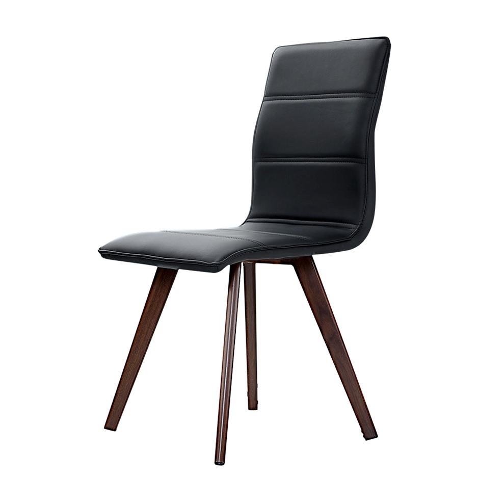 Artiss 2x Dining Chairs Retro Chair metal Leg High Back PU Leather Black