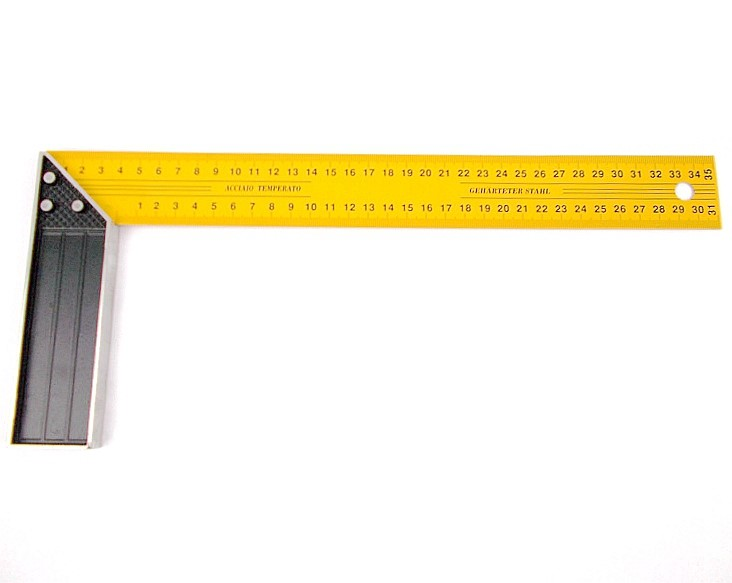 Approx 120 x 350mm Yellow Lacquered Metal Angle Square Ruler