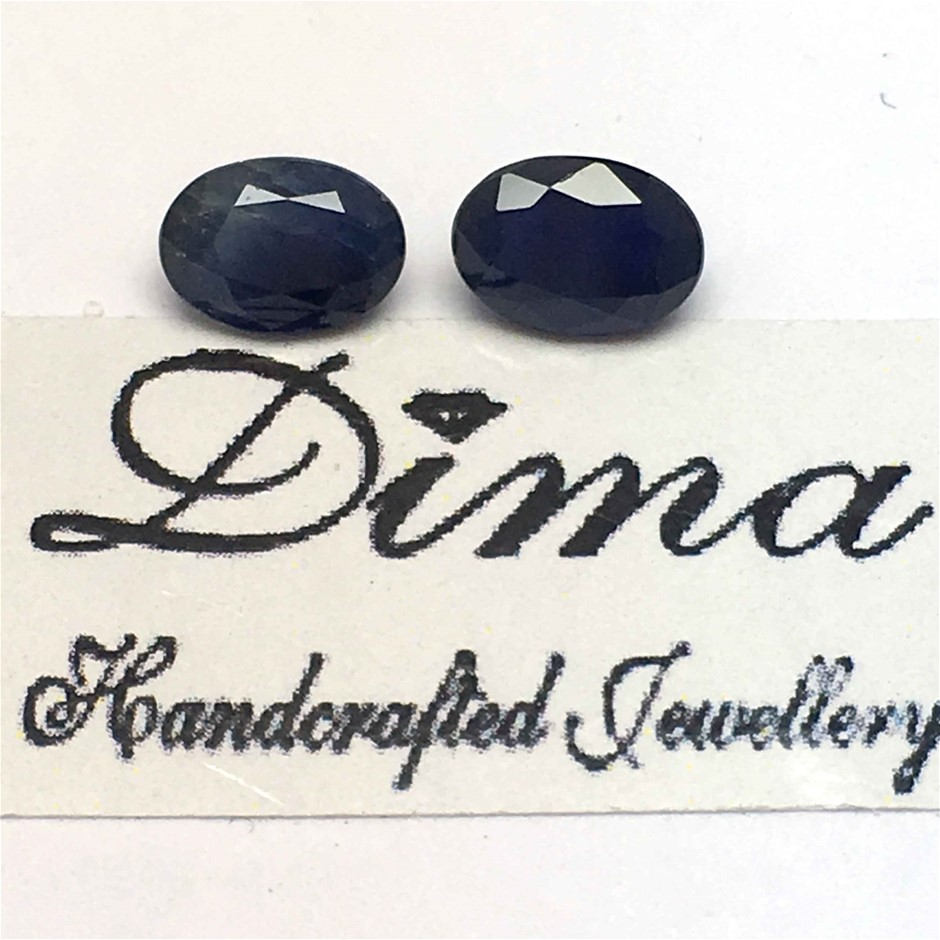 Two Stones Blue Sapphire 2.05ct in Total