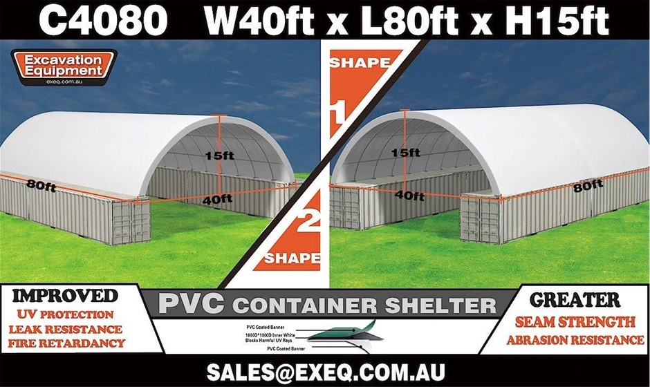 2019 Unused Heavy Duty 40ft x 80ft Container Shelter