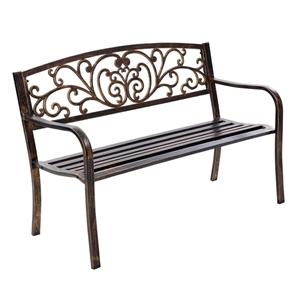 Gardeon Cast Iron Garden Bench - Bronze