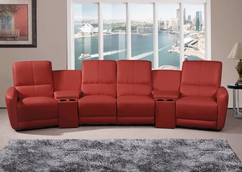 Oscar - 4 Seater Home Theatre Reclining Lounge, Red