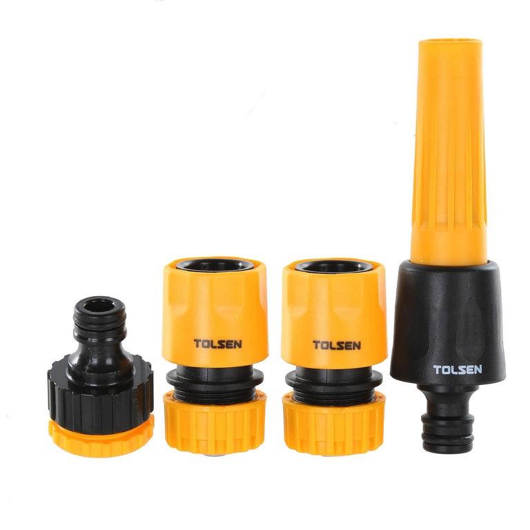4 x TOLSEN 4pc 1/2ins Hose Connector Sets, Comprising; Adjustable Nozzle, T