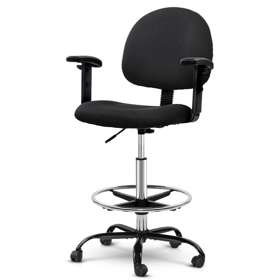 Artiss Office Chair Veer Drafting Stool Fabric Adjustable Armrest Black