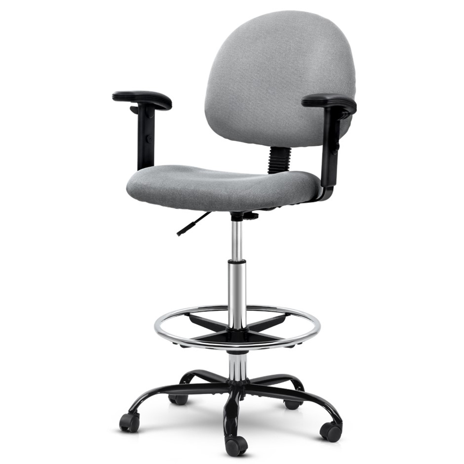 Artiss Office Chair Veer Drafting Stool Fabric Adjustable Armrest Grey