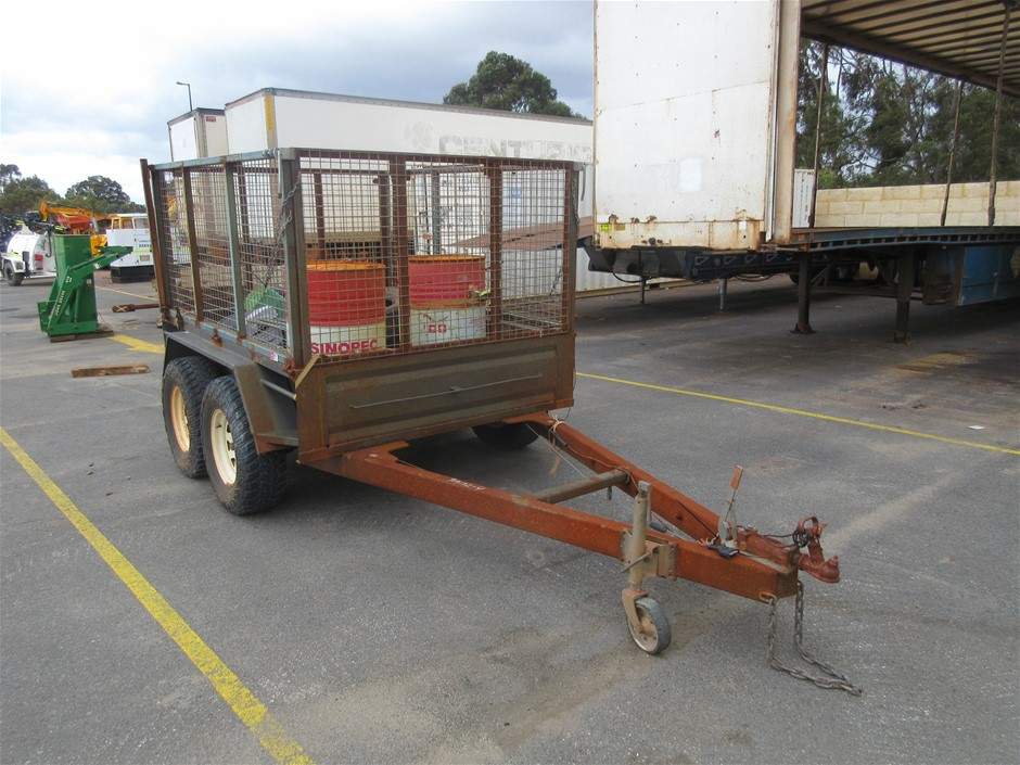 Dual Axle Cage Trailer with Contents