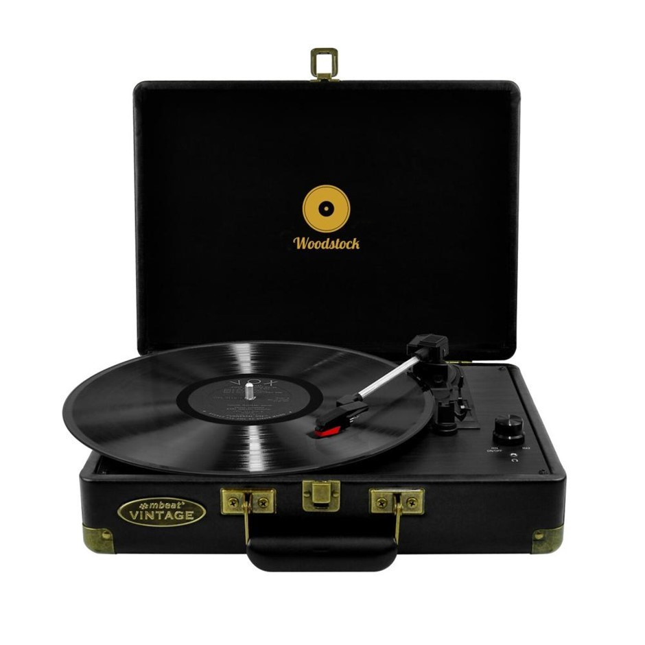 mbeat MB-TR89BLK Woodstock Black Retro turntable player