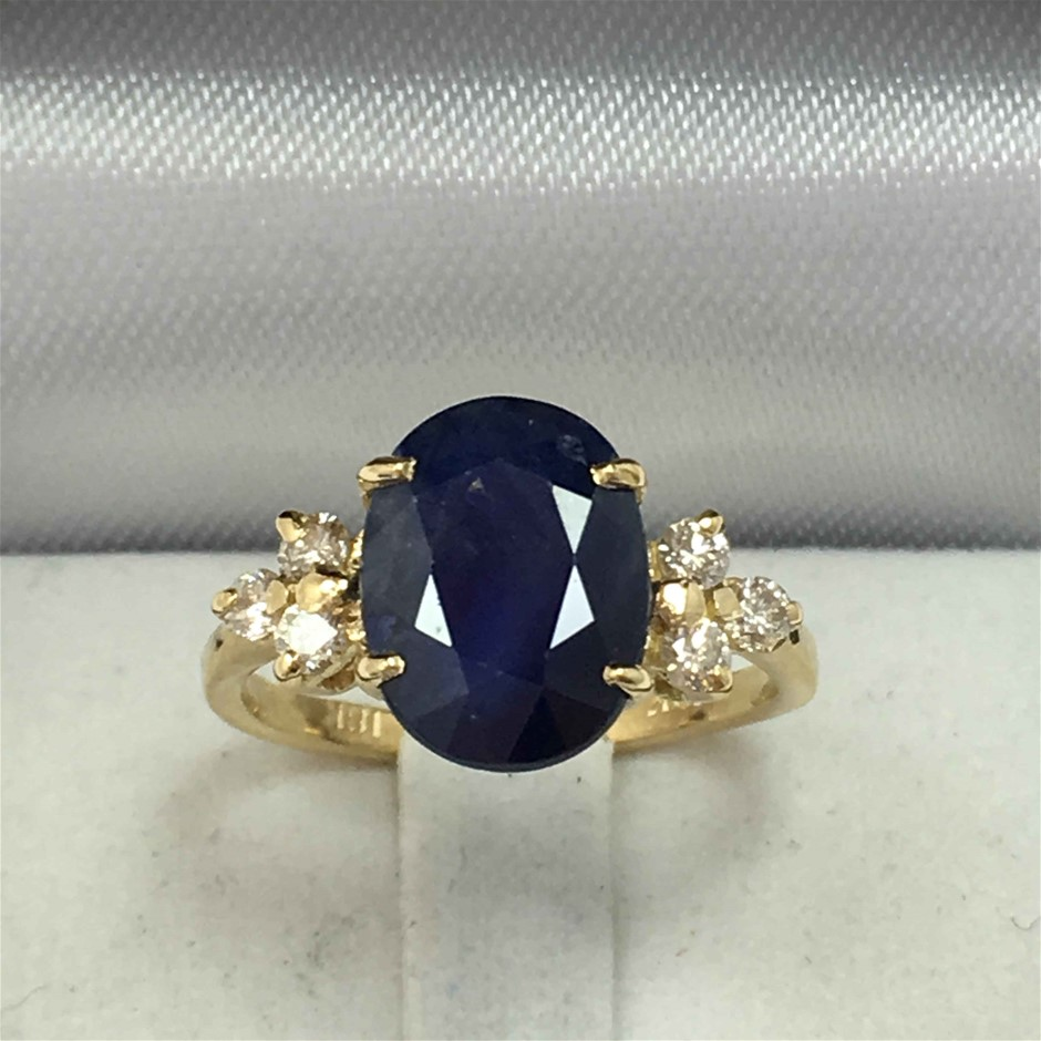 18ct Yellow Gold, 3.63ct Blue Sapphire and Diamond Ring