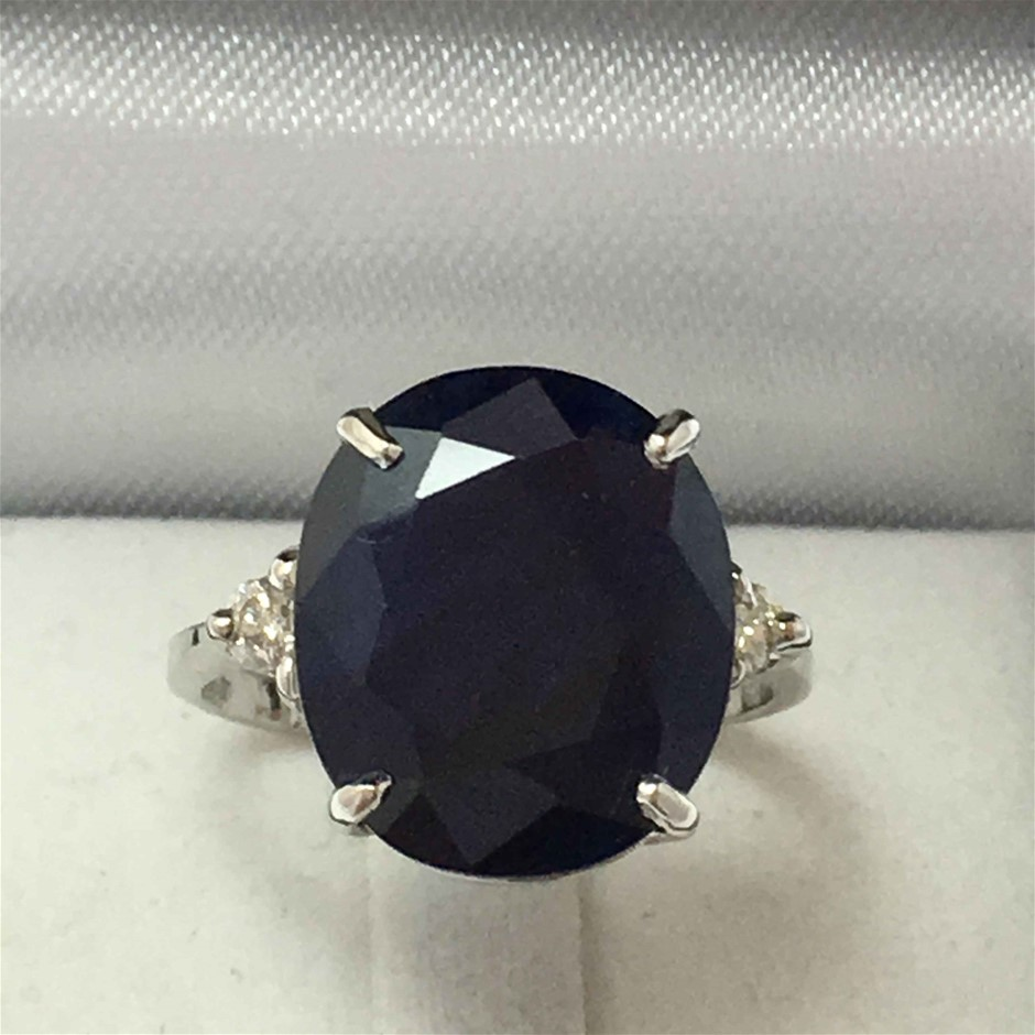 18ct White Gold, 10.12ct Blue Sapphire and Diamond Ring
