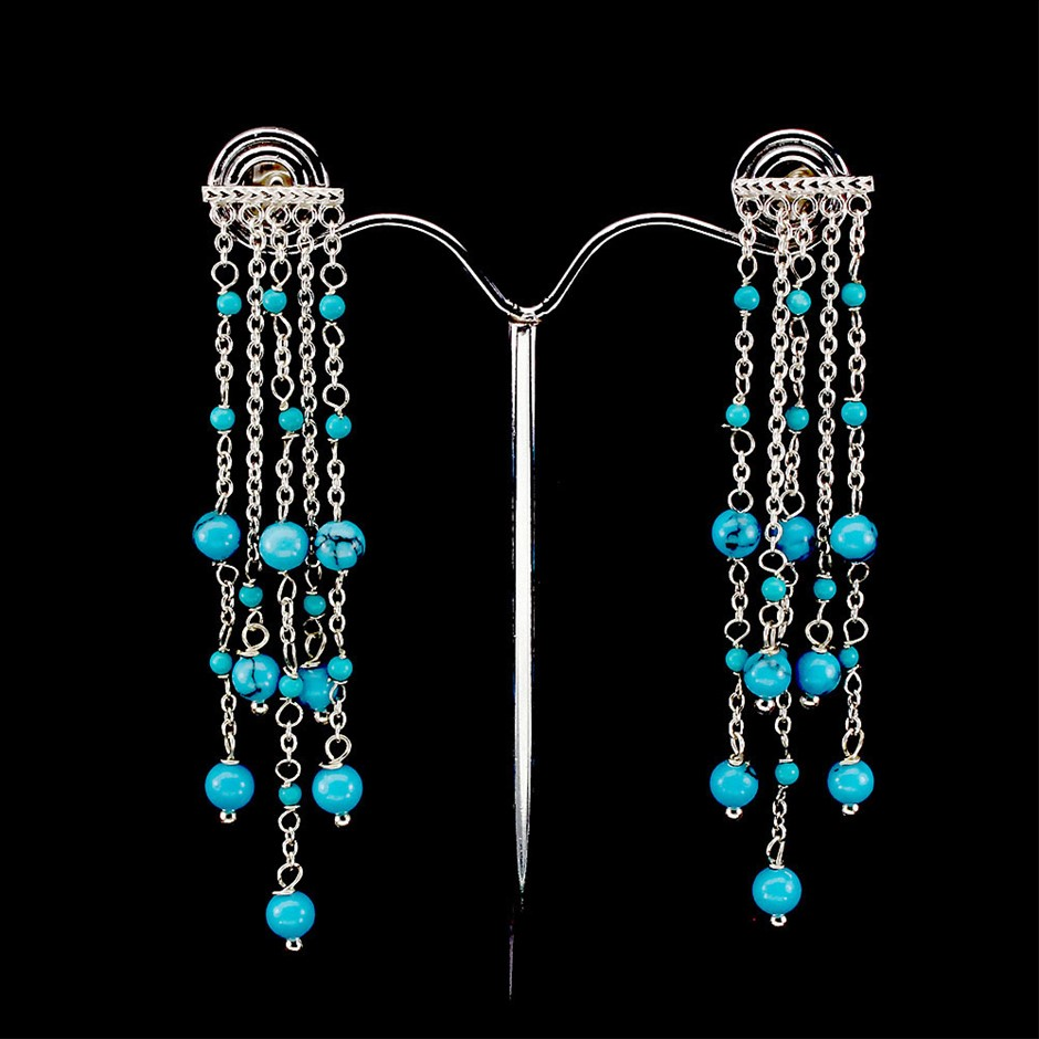 Unique Genuine Turquoise Drop Earrings