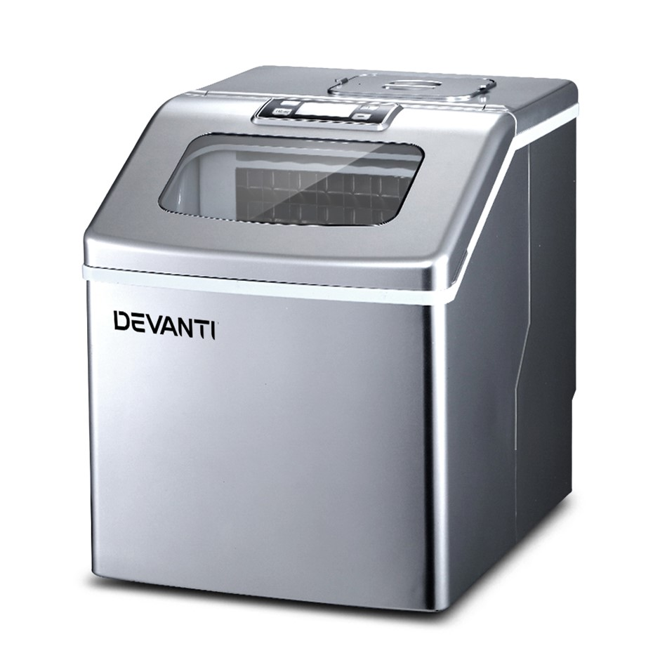 Devanti Portable Ice Maker Commercial Square Ice Cube Silver 2.2L
