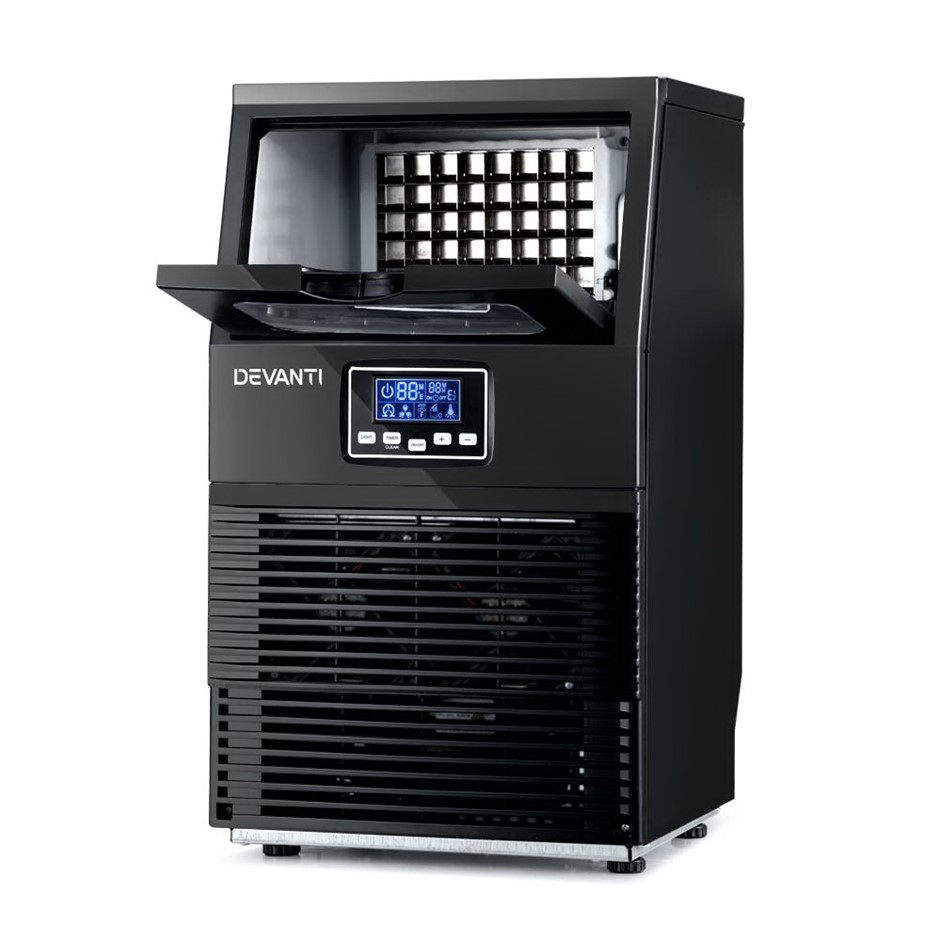 Devanti Ice Maker Machine Commercial Square Ice Cube Black LCD Display
