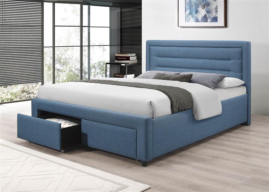 Eleanor Bedframe Queen Size Light Blue
