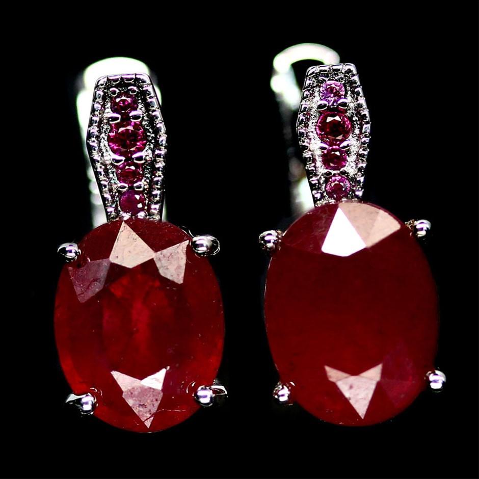 Beautiful Genuine Ruby Huggie Earrings
