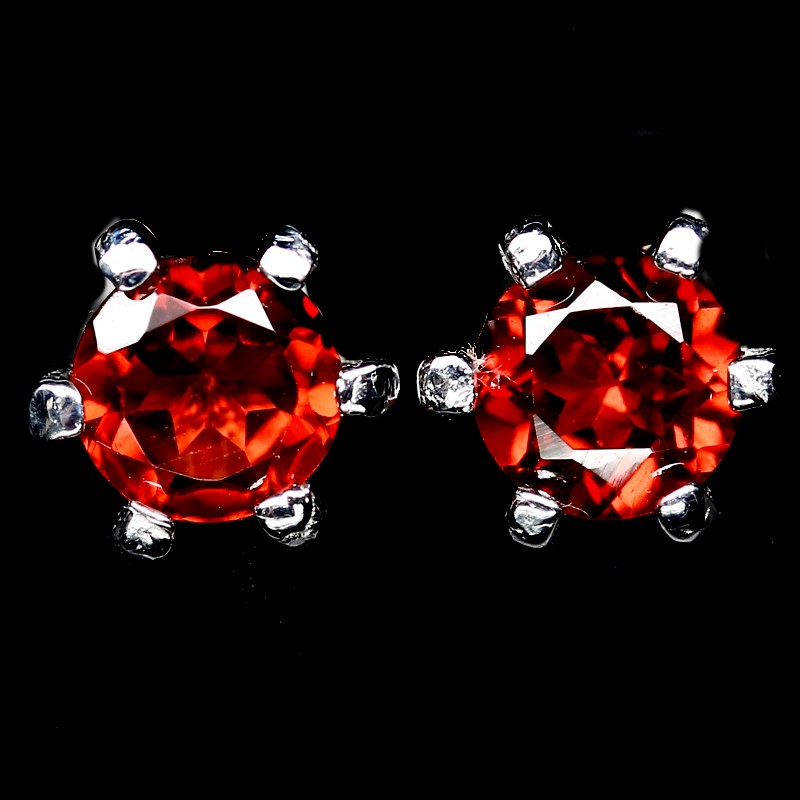 Striking Genuine Orange Garnet Stud Earrings