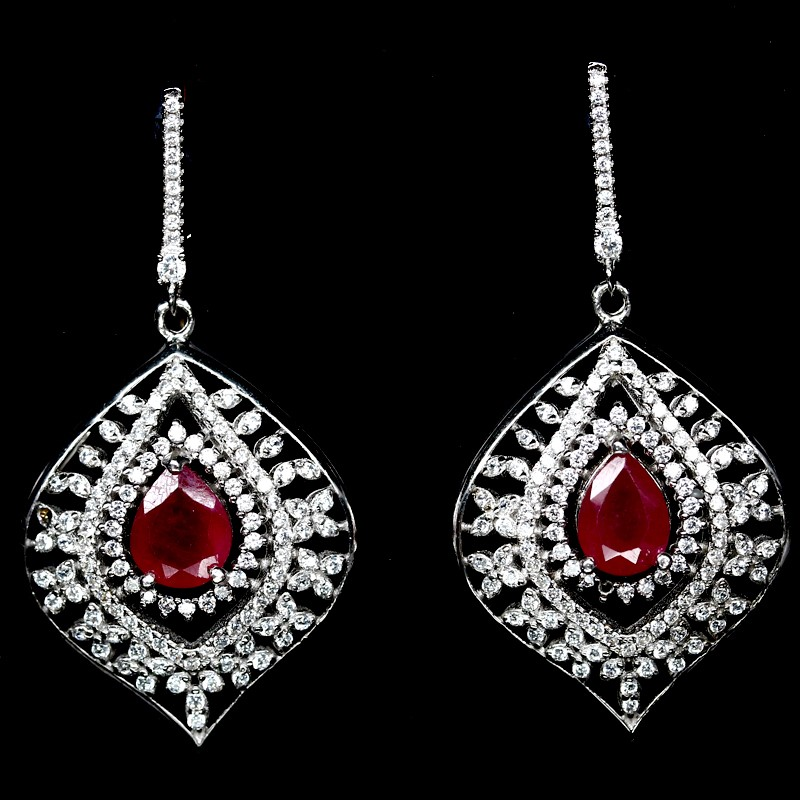 Gorgeous Unique Genuine Ruby Drop Earrings.