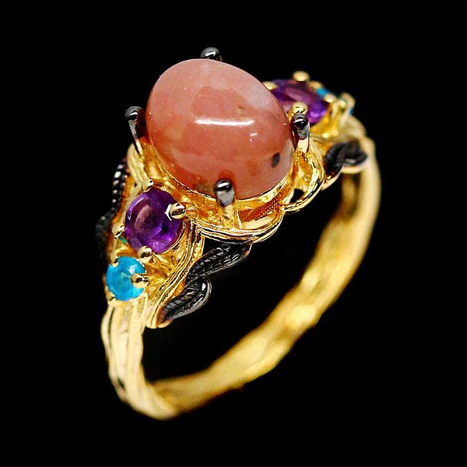 Beautiful Unique Pink Opal Amethyst & Apatite Ring.