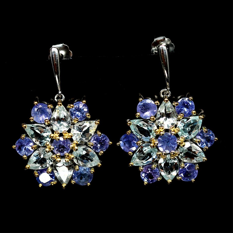 Spectacular Genuine Aquamarine & Tanzanite Drop Earrings.
