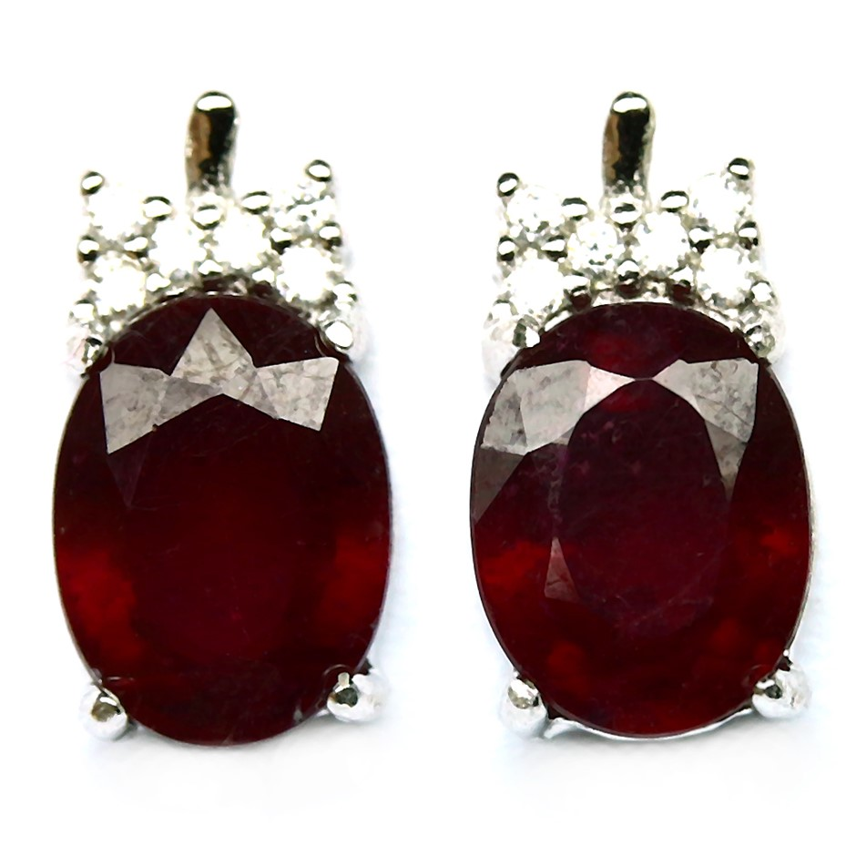 Striking Genuine Blood Red Ruby Stud Earrings.