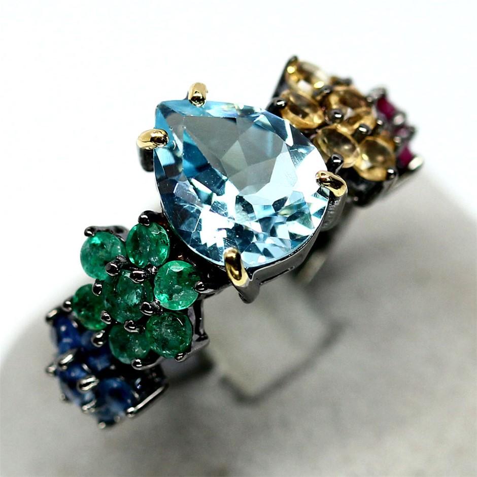 Unique Genuine Ruby Emerald Sapphire & topaz Ring.