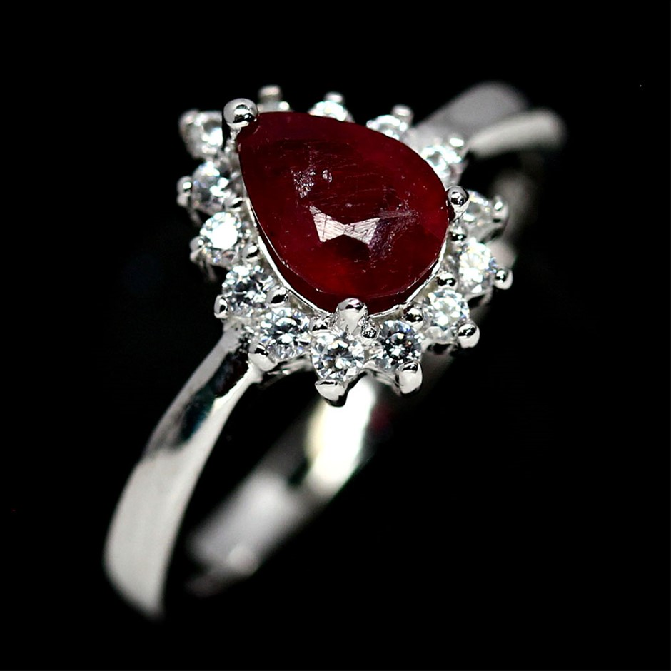 Striking Genuine Blood Red Ruby Solitaire Ring